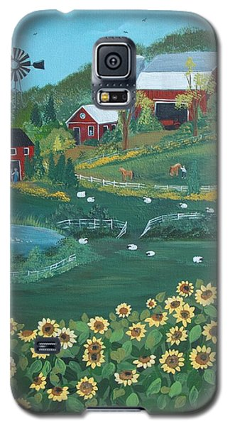 Galaxy S5 Case featuring the painting Sunflower Farm by Virginia Coyle