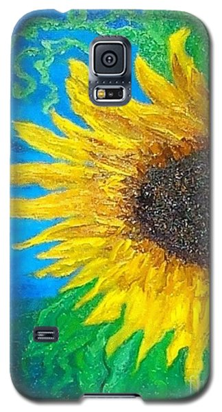 Galaxy S5 Case featuring the painting Sunflower by Holly Martinson