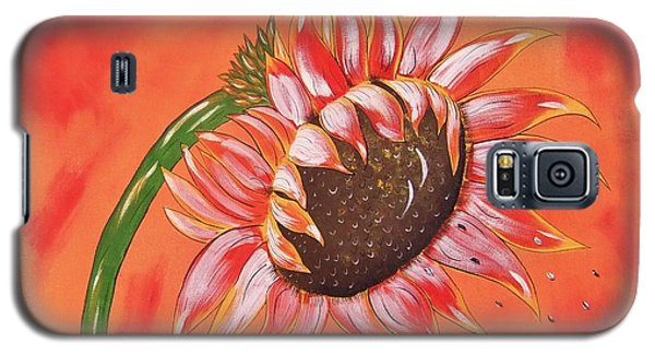 Galaxy S5 Case featuring the painting Sunflower In Fall by Cindy Micklos