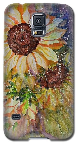 Galaxy S5 Case featuring the painting Sunflower Rain by Kathleen Pio