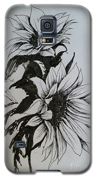 Galaxy S5 Case featuring the drawing Sunflower by Rose Wang
