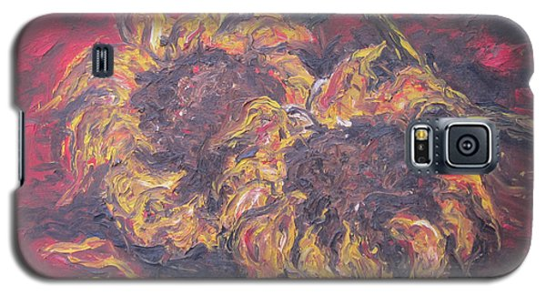 Galaxy S5 Case featuring the painting Sunflowers 2 - Ode To Van Gogh by Cheryl Pettigrew