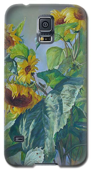 Galaxy S5 Case featuring the painting Sunflowers After The Rain by Svitozar Nenyuk