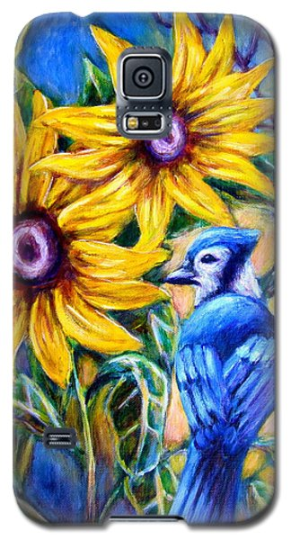 Sunflowers And Blue Jay Galaxy S5 Case