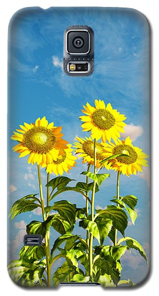 Galaxy S5 Case featuring the digital art Sunflowers And The Sky... by Tim Fillingim