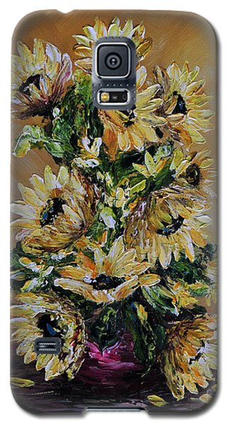 Galaxy S5 Case featuring the painting Sunflowers For You by Teresa Wegrzyn
