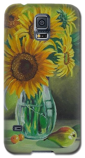 Galaxy S5 Case featuring the painting Sunflowers In Glass Jug by Nina Mitkova
