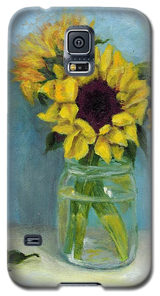 Galaxy S5 Case featuring the painting Sunflowers In Mason Jar by Sandra Nardone