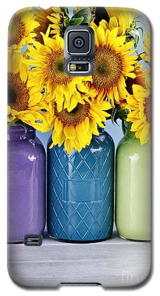 Sunflowers In Painted Mason Jars Galaxy S5 Case