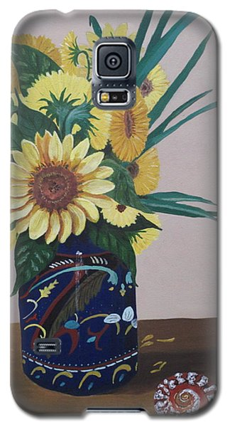 Sunflowers In Vase With Seashell Galaxy S5 Case by Hilda and Jose Garrancho