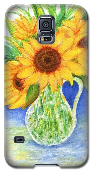 Galaxy S5 Case featuring the painting Sunflowers by Jeanne Kay Juhos