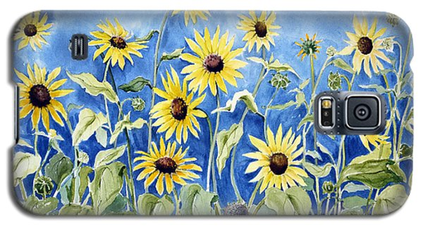 Galaxy S5 Case featuring the painting Sunflowers by Joan Hartenstein