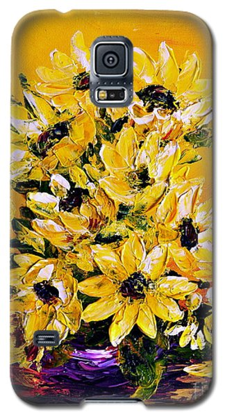 Galaxy S5 Case featuring the painting Sunflowers  No.3 by Teresa Wegrzyn