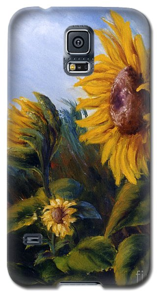 Galaxy S5 Case featuring the painting Sunflowers On Green Hill Under Blue Sky by Lenora  De Lude