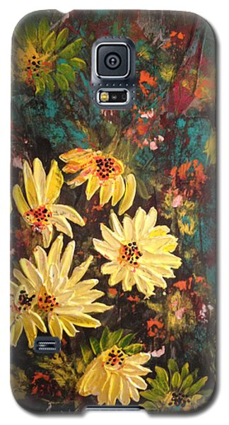 Galaxy S5 Case featuring the painting Sunflowers by Sima Amid Wewetzer