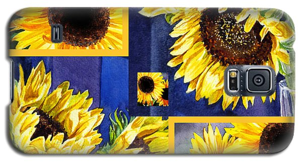 Galaxy S5 Case featuring the painting Sunflowers Sunny Collage by Irina Sztukowski