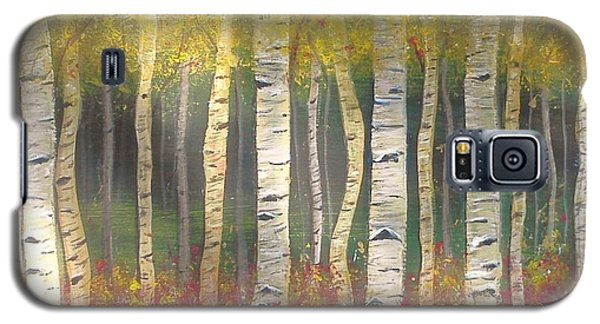 Galaxy S5 Case featuring the painting Sunlight On Aspens by Carol Duarte