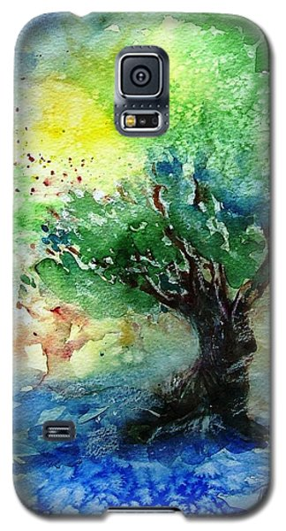 Galaxy S5 Case featuring the painting Sunlit Olive Tree In Skiathos  by Trudi Doyle