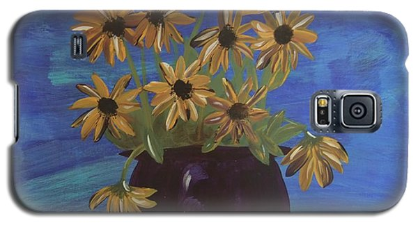 Galaxy S5 Case featuring the painting Sunny Day Sunflowers by Tatum Chestnut