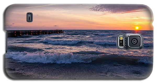 Galaxy S5 Case featuring the photograph Sunrise Lake Michigan August 8th 2013 Wave Crash by Michael  Bennett