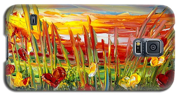 Galaxy S5 Case featuring the painting Sunrise Meadow   by Teresa Wegrzyn