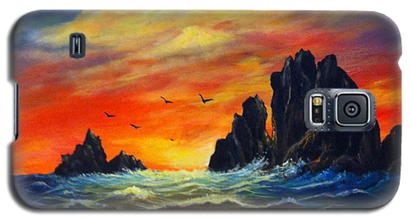 Galaxy S5 Case featuring the painting Sunset 2 by Bozena Zajaczkowska