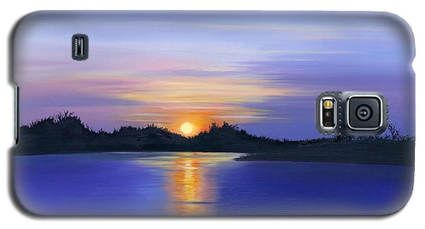 Galaxy S5 Case featuring the painting Sunset Across The River by Elizabeth Lock