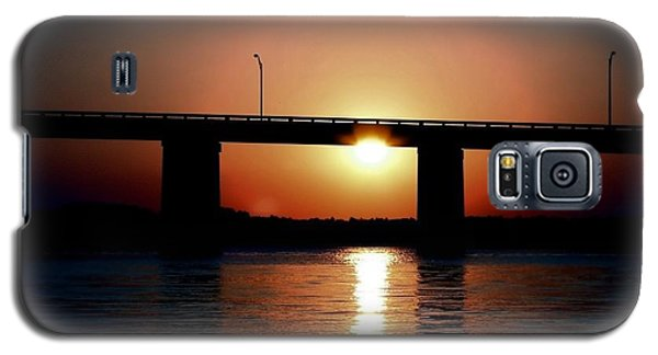 Galaxy S5 Case featuring the photograph Sunset And Bridge by Debra Forand
