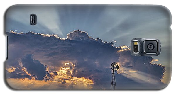 Sunset And Windmill Galaxy S5 Case by Rob Graham