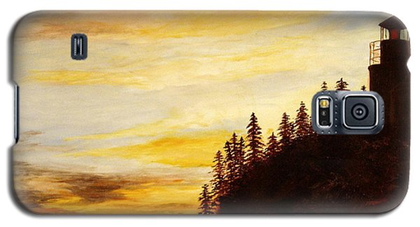 Galaxy S5 Case featuring the painting Sunset At Bass Harbor by Lee Piper