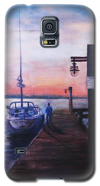 Galaxy S5 Case featuring the painting Sunset At Rocky Point by Sher Nasser