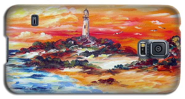 Galaxy S5 Case featuring the painting Sunset At Rottnest  Island Lighthouse by Roberto Gagliardi