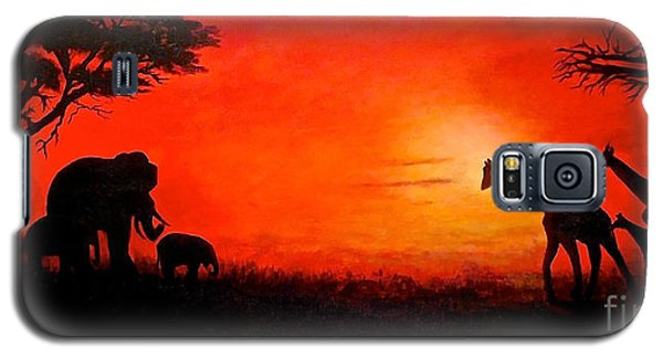 Galaxy S5 Case featuring the painting Sunset At Serengeti by Sher Nasser