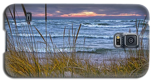 Sunset On The Beach At Lake Michigan With Dune Grass Galaxy S5 Case