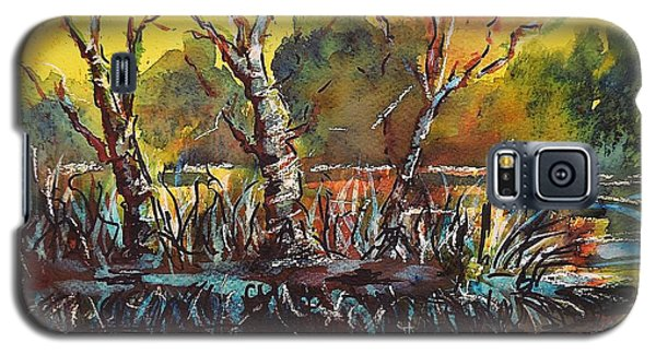 Galaxy S5 Case featuring the painting Sunset At The Lake by Kathleen Pio