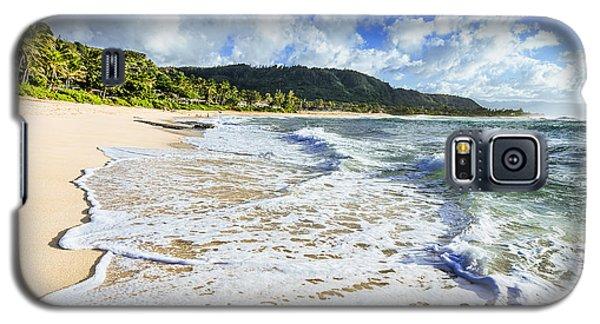 Galaxy S5 Case featuring the photograph Sunset Beach Foamy Shoreline by Aloha Art