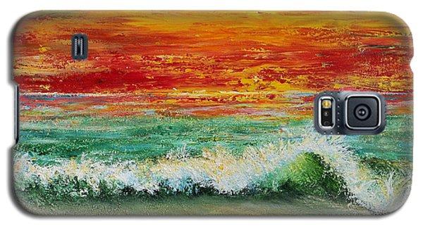 Galaxy S5 Case featuring the painting Sunset Breeze by Teresa Wegrzyn