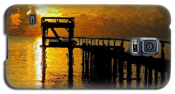 Galaxy S5 Case featuring the painting Sunset By The Jetty by Wayne Pascall