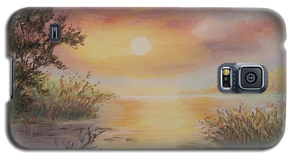 Galaxy S5 Case featuring the painting Sunset By The Lake by  Luczay