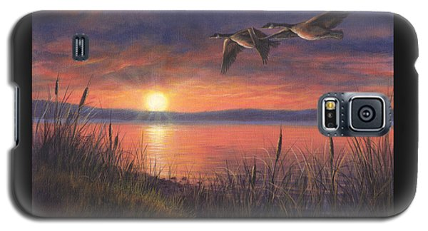 Galaxy S5 Case featuring the painting Sunset Flight by Kim Lockman