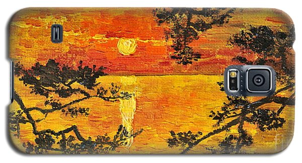 Galaxy S5 Case featuring the painting Sunset For My Parents by Teresa Wegrzyn