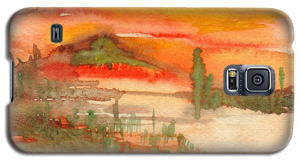 Galaxy S5 Case featuring the painting Sunset In Saguaro Desert  by Mukta Gupta