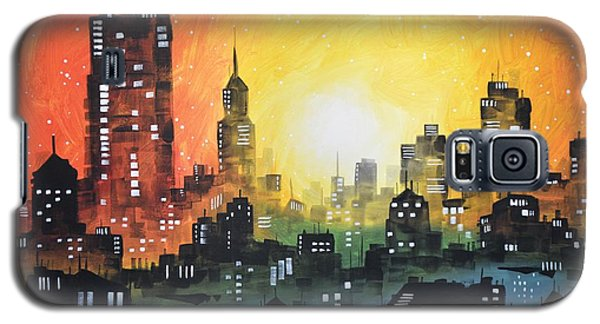 Galaxy S5 Case featuring the painting Sunset In The City by Amy Giacomelli