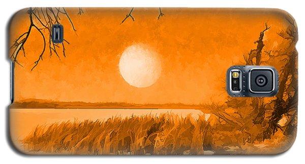 Galaxy S5 Case featuring the digital art Calm Lake Under Full Moon - Boulder County Colorado by Joel Bruce Wallach