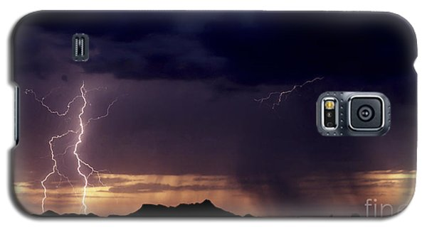 Galaxy S5 Case featuring the photograph Sunset Lightning-signed by J L Woody Wooden