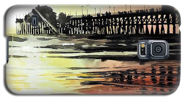Galaxy S5 Case featuring the painting Sunset Oceanside Pier by Tom Riggs
