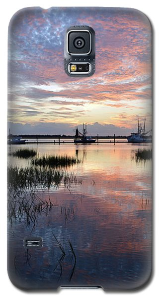 Sunset On Jekyll Island With Docked Boats Galaxy S5 Case