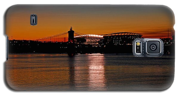 Galaxy S5 Case featuring the photograph Sunset On Paul Brown Stadium by Mary Carol Story
