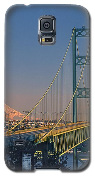 1a4y20-v-sunset On Rainier With The Tacoma Narrows Bridge Galaxy S5 Case