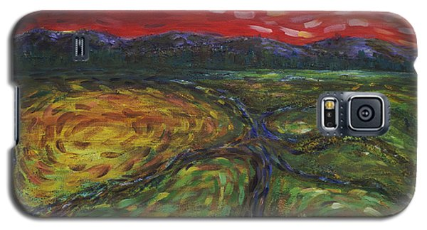 Galaxy S5 Case featuring the painting Sunset On The Narrows by Cynthia Lagoudakis